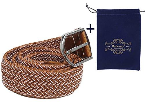 Modeway Stretch Woven Canvas Belt Men Elastic Belts Pin Buckle Belt Universal Trouser Elastic Belt Weaving Unisex (X-Large, Coffee + White) - Mens Woven Trousers