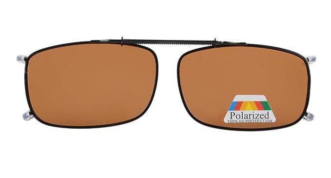 753a371e05 Eyekepper Metal Frame Rim Polarized Lens Clip On Sunglasses Brown Lens   Amazon.co.uk  Clothing