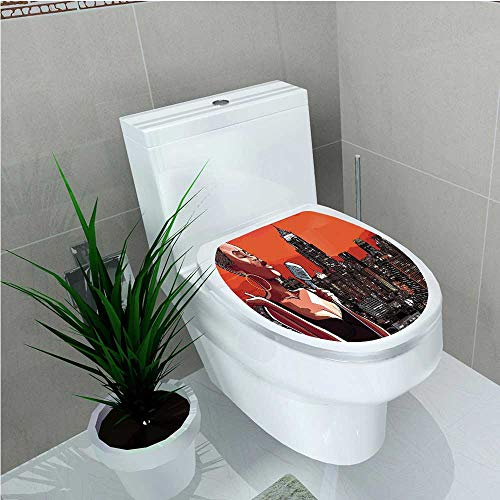 (aolankaili Bathroom Toilet Jazz Singer on New York Roof Cityscape Urban Music Popular Town Illustration Scarlet W13 x)