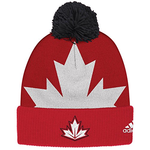 adidas Canada World Cup Of Hockey Winter Cuffed Knit Pom Hat (Hockey Apparel Canada)