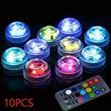 10pcs Submersible LED Lights,Multicolor,Waterproof Underwater Lights,SMD 3528 RGB Tea Lights with IR Remote Control for vase, bowls, aquarium and party decoration
