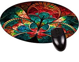 Stained Glass Flower Petals Round Mouse pad - Stylish, Durable Office Accessory Made in the USA