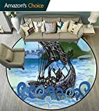 Nordic Round Rug for Nursery,Drekar Boat Vikings Ship Bearded Warrior with Axe Swirled Sea Waves Artwork for Residential or Commercial Use,Blue Black Green,D-59
