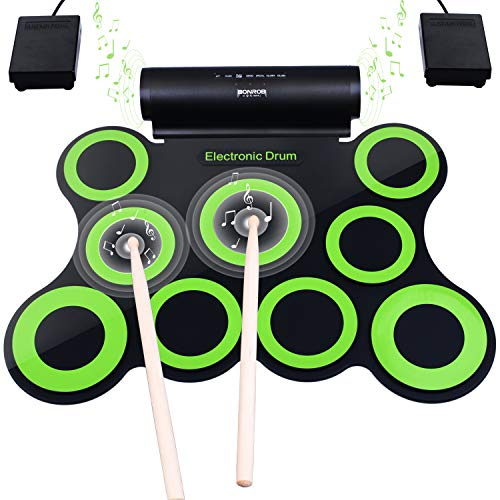 Upgraded Version Electronic Drum Set, BONROB 9 Drum Pads Electric Drum Set, Built in Speaker with Drum Sticks, Drum Pedals, Headphone Jack, Birthday Christmas Gift for Kids