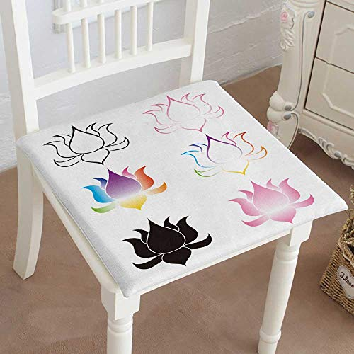 Mikihome Indoor/Outdoor All Weather Chair Pads Lotus Flowers s Seat Cushions Garden Patio Home Chair Cushions 14