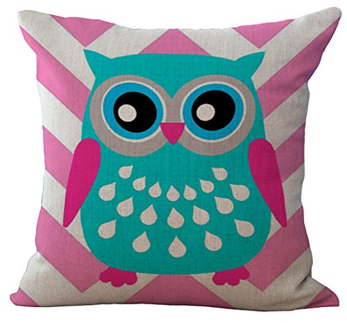 Cartooon Owl Printed Cushion Cover LivebyCare Linen Cotton Cover Throw Pillow Case Sham Pattern Zipper Pillowslip Pillowcase For Home Sofa Couch Chair Back Seat