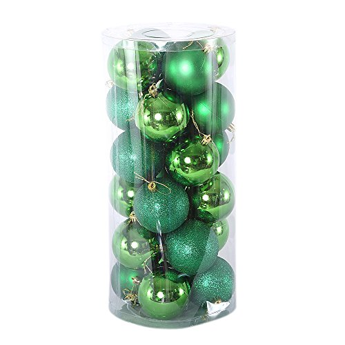 Christmas Baubles Tree Balls Ornaments Shatterproof Silver Xmas Trees Wedding Parties Mini Tree Decorations Festival Party Pendant (3cm, Green) Ball Mini Pendant