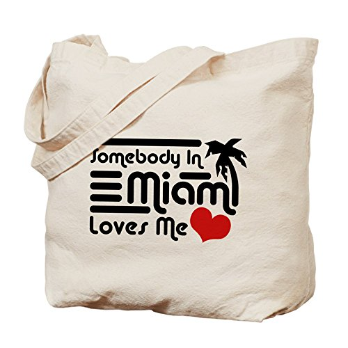 CafePress - Somebody In Miami Loves Me - Natural Canvas Tote Bag, Cloth Shopping - Shopping Beach Miami In