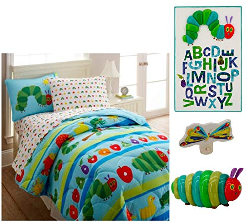 Eric Carle The Very Hungry Caterpillar Bedroom Bundle (5 Pcs) 1 Twin Size Comforter, 1 Pillow Sham, 1 Caterpillar Table Top Light, 1 Wall Plug In Butterfly Nightlight And 1 -