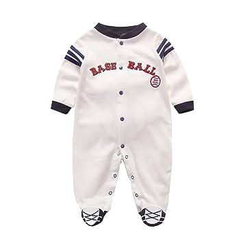 b69125313ea29 Fairy Baby 野球ユニフォーム ロンパース ベビー服 男の子 足つき 長袖 前開き お出かけ服 縞柄 size 59