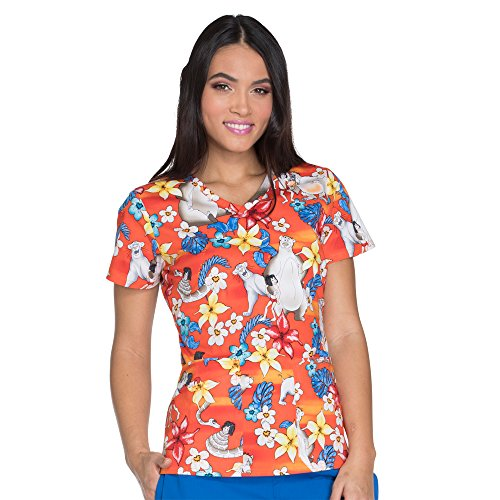 Women's V-Neck Jungle Book Print Scrub Top XX-Large Print (Cherokee Print V-neck Scrub)