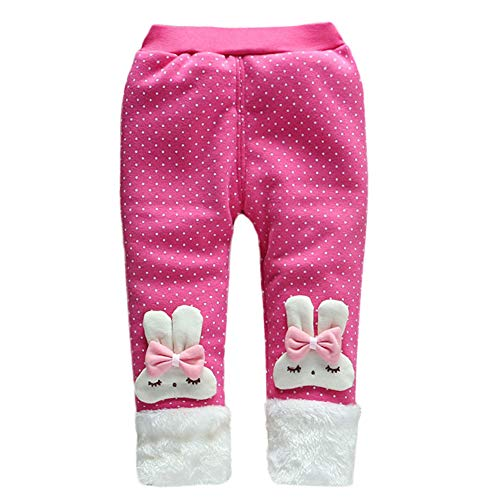 Bowknot Rabbit (Baby Girl Winter Warm Pants Plus Thick Velvet Rabbit Polka Dot Bowknot Christmas Pants Jogger Snow Trousers Leggings (Hot Pink, 24 Months))