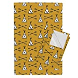 Roostery Teepee Tipi Teepees Tipis Nursery Southwest Teepee Fabric Tea Towels Teepee Tipi Teepees Southwest by Charlottewinter Set of 2 Linen Cotton Tea Towels