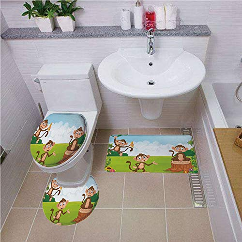 (Bath mat Set Round-Shaped Toilet Mat Area Rug Toilet Lid Covers 3PCS,Nursery,Three Monkeys Playing in a Tropical Forest Banana Africa Safari Nature Decorative,Pale Blue Brown Green,Bath mat Set Round)