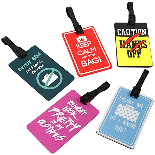 Bundle Monster 5 pc Silicone Mixed Design Travel Luggage Bag ID Tags - Set 1: Hands -