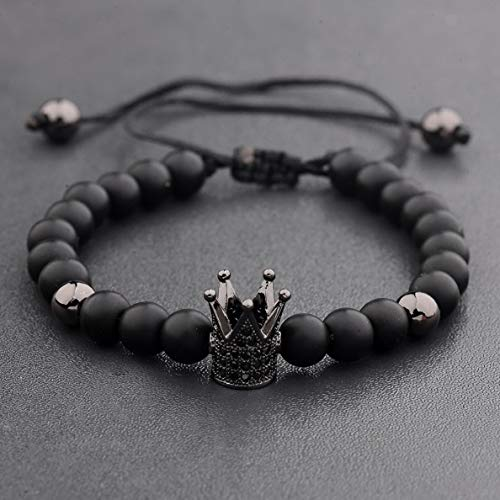 (Hebel Luxury Crown Natural Stone Matte Black Charm Mens CZ Copper Bead Chuck Bracelet | Model BRCLT - 32958 |)