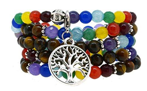 Seven Chakra Healing Simulated Tiger Eye Mala Wrap Bracelet Necklace (Silver Tone Tree of Life)