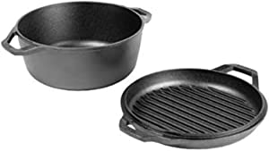 Lodge Chef Collection 6 Quart Cast Iron Double Dutch Oven. Seasoned and Ready for the Kitchen or Campfire. Cover Converts to a Grill Pan for Searing. Made from Quality Materials to Last a Lifetime