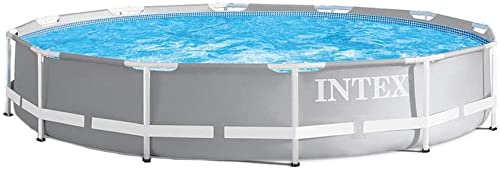 Intex 26710EH 12ft x 30in Prism Metal Frame Above Ground Swimming Pool with Easy Set-Up and fits up to 6 People Filter Pump Not Incuded