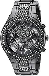Guess Women's U0628l5 Sporty Gunmetal Watch With Grey Dial , Crystal-accented Bezel & Stainless Steel Pilot Buckle