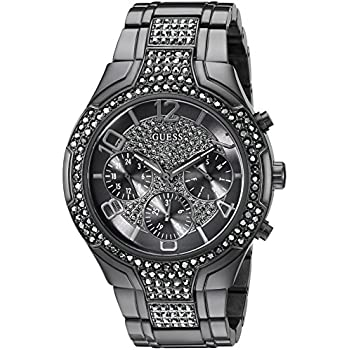 GUESS Womens U0628L5 Sporty Gunmetal Watch with Grey Dial, Crystal-Accented Bezel and Stainless Steel Pilot Buckle