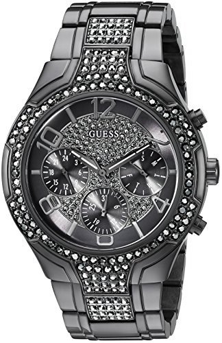GUESS Women's U0628L5 Sporty Gunmetal Watch with Grey Dial , Crystal-Accented Bezel and Stainless Steel Pilot Buckle