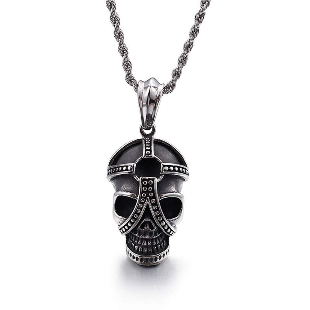 Color : Silver Black, Size : 5525MM LIUFENGLONG Punk Necklace Pendant Mens Silver Black Gothic Rock Pendant Stainless Steel Necklace A Good Gift for Men Great Gift for Anyone
