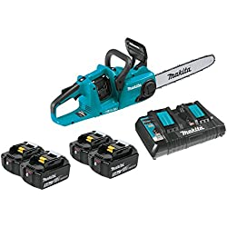 "Makita XCU03PT1 18V X2 (36V) LXT Lithium-Ion Brushless Cordless 14"" Chain Saw Kit with 4 Batteries (5.0Ah)"