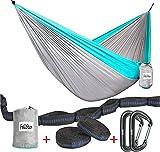 Hammock - Camping Double Hammock- Portable Parachute Nylon Hammock With Tree Straps & Alloy Carabiners For Backpacking Garden, Backyard,Hiking &Traveling(BLUE/GREY, SINGLE)