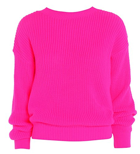 Purl Womens Plain Color Baggy Jumper Hot Pink US 10-12
