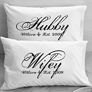 Personalized Pillowcases - Wifey Hubby - Husband and Wife - Couples Gift Wedding, Anniversary, Romantic Gift Idea for Couples.