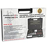Marksman Precision Universal Gun Cleaning Kit | Best Brass Jags - Slotted Tips - Rods - Brushes | LED Bore Light | Optical Cloth | Hunting Shooting Rifle Pistol Shotgun Tactical -Plastic Portable Case