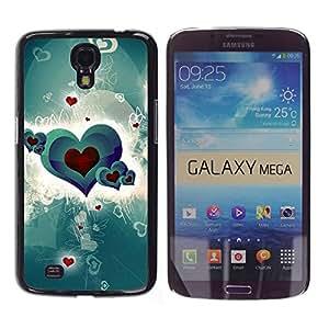 PC/Aluminum Funda Carcasa protectora para Samsung Galaxy Mega 6.3 I9200 SGH-i527 heart pattern love green crimson red / JUSTGO PHONE PROTECTOR