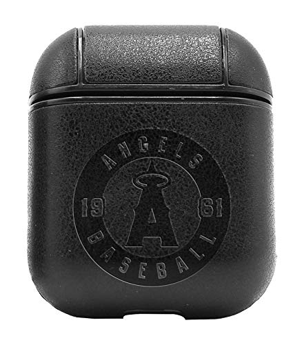 MLB Los Angeles Angels of Anaheim Logo 2 (Vintage Black) Air Pods Protective Leather Case Cover - a New Class of Luxury to Your AirPods - Premium PU Leather and Handmade exquisitely