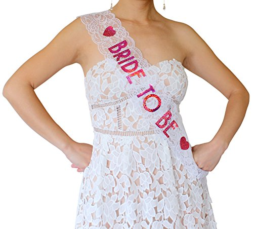 Bride to Be Lace Sash - Bachelorette Party, Bridal Shower & Wedding Party Accessory (White & Pink) (White Satin Top Hat)