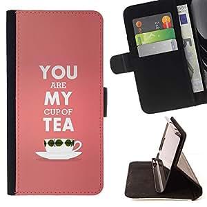 For HTC One Mini 2 M8 MINI Case , Mi taza de té de melocotón de San Valentín de texto Rosa Amor- la tarjeta de Crédito Slots PU Funda de cuero Monedero caso cubierta de piel
