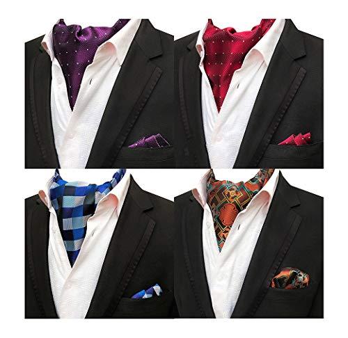 MOHSLEE Men's Exquisite 4 Pack Cravat Floral Ascot Scarf Tie & Pocket Square Set