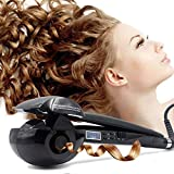 Magic Automatic Curling Hair Curler Iron Curl Wave Machine Professional Ceramic Curling Wand with LCD AU Plug Black for All Hair Types Adjustable Temp