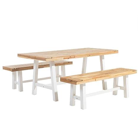 Beliani Gartenmöbel Set Holz Weißbraun Scania Beliani