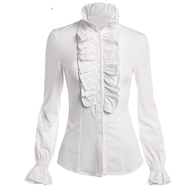 40ab64c4c Dwevkeful Camisa Encaje de Mujer Manga Larga Color Sólido con Volantes  Cuello Alto Arco Gasa Mujer Blusas De Volantes Superior Medieval Gótico  Steampunk ...