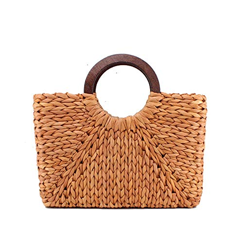 JAY-LONG Women's Top-Handle Bags, Natural Corn Husk Woven Totes, Holiday Beach Casual Bag, Wooden Round Handle, Built-in Phone Pocket, 2542Cm