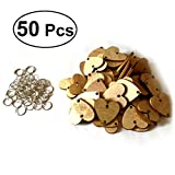 (US) WINOMO 50pcs Heart Wooden Slices With 50 Iron Loops Set For Birthday Reminder Hanging Wooden Plaque Board DIY Calendar Accessories Home Decoration (Wood Grain)