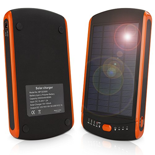 Motorola Droid Turbo Battery, BoxWave [Solar Rejuva PowerPack (23000mAh)] Solar Powered Backup Power Bank for Motorola Droid Turbo - Bold Orange by BoxWave