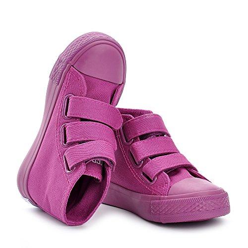 ESTAMICO Mädchen Jungen High-Top Canvas Sneaker Unisex Kinder Turnschuhe Lila