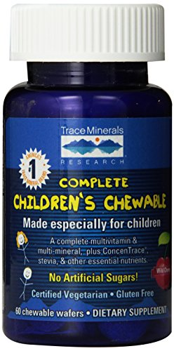 Trace Minerals Complete Children's Chewable Multi-Vitamin/Mineral Wafers, Wild Cherry Flavor, 60-Count Bottles (Pack of 2) ()