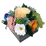Handmade Artificial Felt Flower Spring Arrangement In Wooden Box