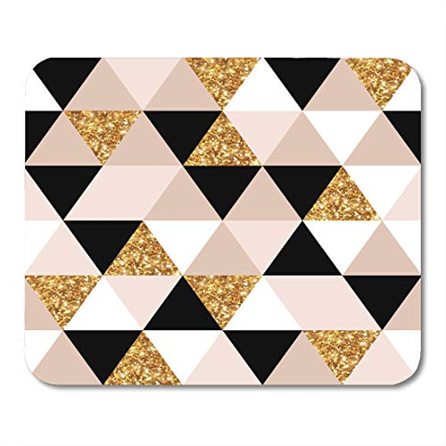 Nakamela Mouse Pads Pink Golden Abstract Geometric Pattern Geometry Gold Black and White Triangles Grid Chic Mosaic Tiles Mouse mats 9.5