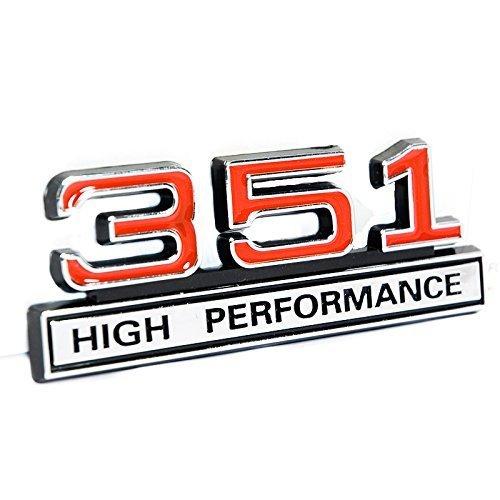 "351 5.8 Liter Engine High Performance Emblem in Chrome & Red - 4"" Long"