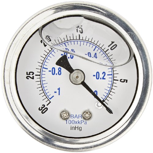 PIC Gauge 202L-158A 1.5' Dial, 30'/0 hg Vacuum psi Range, 1/8' Male NPT Connection Size, Center Back Mount Glycerine Filled Pressure Gauge with a Stainless Steel Case, Brass Internals, Stainless Steel Bezel, and Polycarbonate Lens
