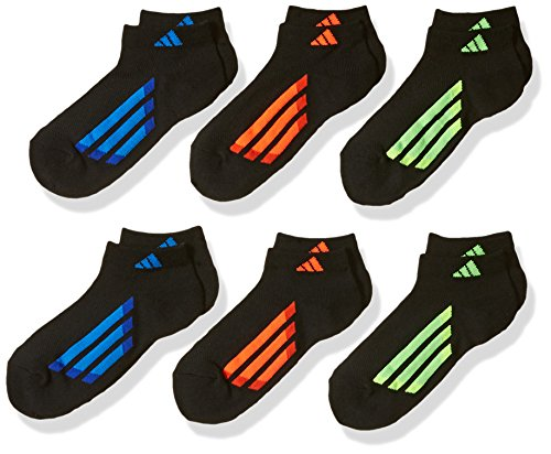 adidas Kids - Boys/Girls Cushioned Low Cut Socks (6-Pair), Red/Orange/Solar Yellow/Shock Blue/Bold Blue, Large